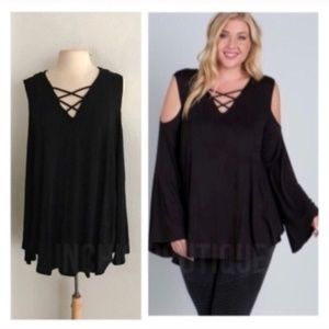 Tops - Xcross bell sleeve tunic